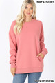 Front image of Dusty Rose Wholesale Round Crew Neck Sweatshirt with Side Pockets