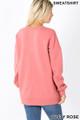 Back image of Dusty Rose Wholesale Round Crew Neck Sweatshirt with Side Pockets