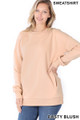Front image of Dusty Blush Wholesale Round Crew Neck Sweatshirt with Side Pockets
