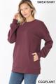 Slightly turned image of Eggplant Wholesale Round Crew Neck Sweatshirt with Side Pockets