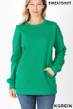 Front image of Kelly Green Wholesale Round Crew Neck Sweatshirt with Side Pockets