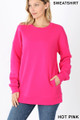 Front image of Hot Pink Wholesale Round Crew Neck Sweatshirt with Side Pockets