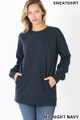 Front image of Midnight Navy Wholesale Round Crew Neck Sweatshirt with Side Pockets