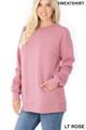 Slightly turned image of Light Rose Wholesale Round Crew Neck Sweatshirt with Side Pockets