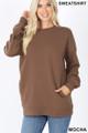 Front image of Mocha Wholesale Round Crew Neck Sweatshirt with Side Pockets