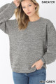 Front image of Mid Grey Wholesale Balloon Sleeve Melange Sweater
