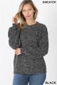 Front image of Black Wholesale Balloon Sleeve Melange Sweater