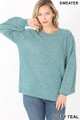 Front image of Dusty Teal Wholesale Balloon Sleeve Melange Sweater