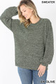 Front image of Dk Olive Wholesale Balloon Sleeve Melange Sweater