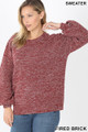 Front image of Fired Brick Wholesale Balloon Sleeve Melange Sweater