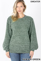 Front image of Hunter Green Wholesale Balloon Sleeve Melange Sweater