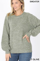 Front image of Lt Olive Wholesale Balloon Sleeve Melange Sweater