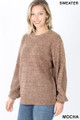 Front image of Mocha Wholesale Balloon Sleeve Melange Sweater