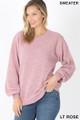 Front image of Lt Rose Wholesale Balloon Sleeve Melange Sweater