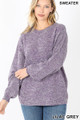 Front image of Lilac Grey Wholesale Balloon Sleeve Melange Sweater