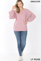 Full body view of Lt Rose Wholesale Balloon Sleeve Melange Sweater