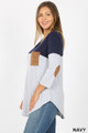 Left side view of Navy Wholesale Color Block V-Neck 3/4 Sleeve Plus Size Top with Front Pocket