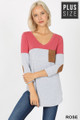 Front of Rose Wholesale Color Block V-Neck 3/4 Sleeve Plus Size Top with Front Pocket