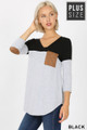 Front of Black Wholesale Color Block V-Neck 3/4 Sleeve Plus Size Top with Front Pocket