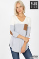Front of Ivory Wholesale Color Block V-Neck 3/4 Sleeve Plus Size Top with Front Pocket