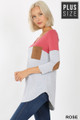 Left side view of Rose Wholesale Color Block V-Neck 3/4 Sleeve Plus Size Top with Front Pocket