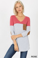 Front view of Rose Wholesale Color Block V-Neck 3/4 Sleeve Top with Front Pocket