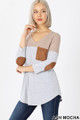 45 degree left view of Ash Mocha Wholesale Color Block V-Neck 3/4 Sleeve Top with Front Pocket