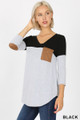 Front view of Black Wholesale Color Block V-Neck 3/4 Sleeve Top with Front Pocket