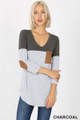 Front view of Charcoal Wholesale Color Block V-Neck 3/4 Sleeve Top with Front Pocket