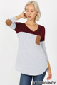 Front view of Dk Burgundy Wholesale Color Block V-Neck 3/4 Sleeve Top with Front Pocket
