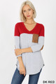 Front view of Dk Red Wholesale Color Block V-Neck 3/4 Sleeve Top with Front Pocket