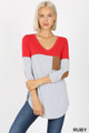 Front view of Ruby Wholesale Color Block V-Neck 3/4 Sleeve Top with Front Pocket