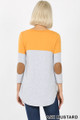 Back view of Ash Mustard Wholesale Color Block V-Neck 3/4 Sleeve Top with Front Pocket
