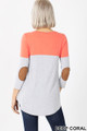 Back view of Deep Coral Wholesale Color Block V-Neck 3/4 Sleeve Top with Front Pocket