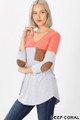 45 degree left view of Deep Coral Wholesale Color Block V-Neck 3/4 Sleeve Top with Front Pocket