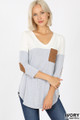 Front view of Ivory Wholesale Color Block V-Neck 3/4 Sleeve Top with Front Pocket