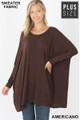 Front view of Americano Wholesale Oversized Round Neck Poncho Plus Size Sweater