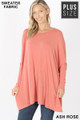 Front view of Ash Rose Wholesale Oversized Round Neck Poncho Plus Size Sweater