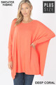Front view of Deep Coral Wholesale Oversized Round Neck Poncho Plus Size Sweater