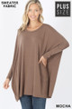 Front view of Mocha Wholesale Oversized Round Neck Poncho Plus Size Sweater