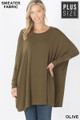 Front view of Olive Wholesale Oversized Round Neck Poncho Plus Size Sweater