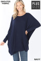 Front view of Navy Wholesale Oversized Round Neck Poncho Plus Size Sweater
