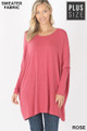 Front view of Rose Wholesale Oversized Round Neck Poncho Plus Size Sweater
