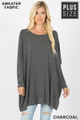 Front view of Charcoal Wholesale Oversized Round Neck Poncho Plus Size Sweater