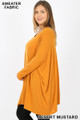 Left side view of Desert Mustard Wholesale Oversized Round Neck Poncho Plus Size Sweater