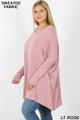 Left side view of Lt Rose Wholesale Oversized Round Neck Poncho Plus Size Sweater