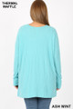 Back view image of Ash Mint Wholesale Brushed Thermal Waffle Knit Round Neck Plus Size Top