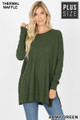 Front image of Army Green Wholesale Brushed Thermal Waffle Knit Round Neck Plus Size Top