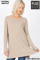 Front image of Ash Mocha Wholesale Brushed Thermal Waffle Knit Round Neck Plus Size Sweater