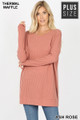 Front image of Ash Rose Wholesale Brushed Thermal Waffle Knit Round Neck Plus Size Sweater